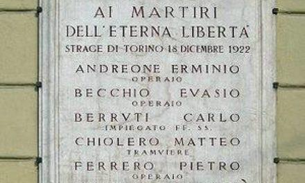 18 dicembre 2018: a Torino (Porta Susa) si ricorda il 95^ anniversario della strage fascista del 1922.