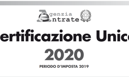 COMUNICAZIONE INPS SU INVIO A DOMICILIO CERTIFICAZIONE UNICA 2020