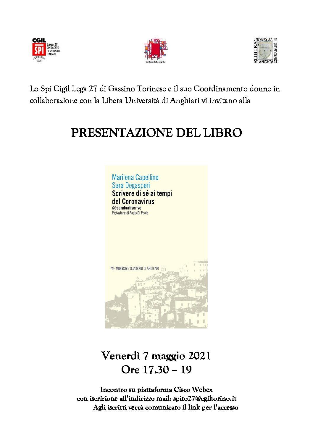 Presentazione libro SCRIVERE DI SE' AI TEMPI DEL CORONAVIRUS